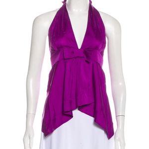 Gucci Purple Silk Low Cut Halter Top